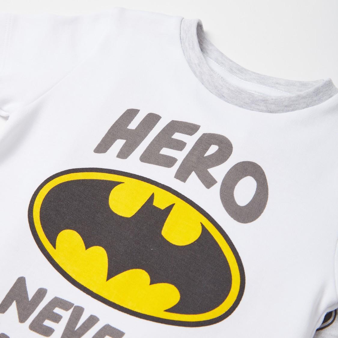 Batman Graphic Print T-shirt and All-Over Print Pyjama Set