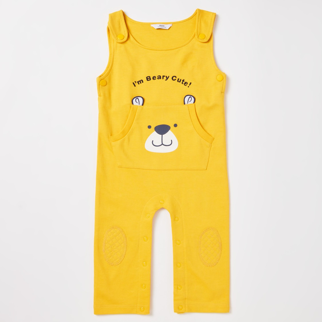 Striped Long Sleeves T-shirt with Full Length Animal Face Print Dungarees