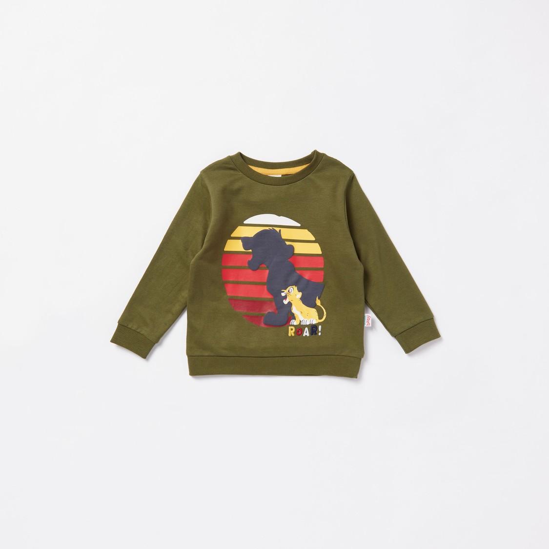 Simba Graphic Print Long Sleeves Sweatshirt with Jog Pants Set
