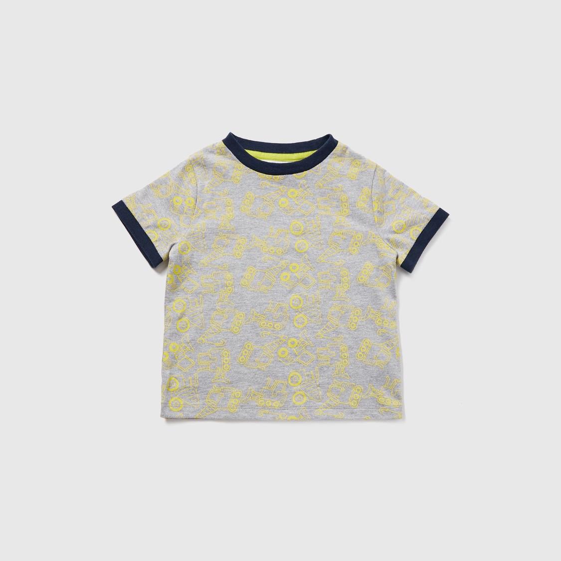 Printed T-shirt and Denim Dungarees Set