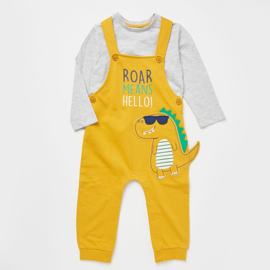 Full Length Printed Dungarees with Solid Long Sleeves T-shirt
