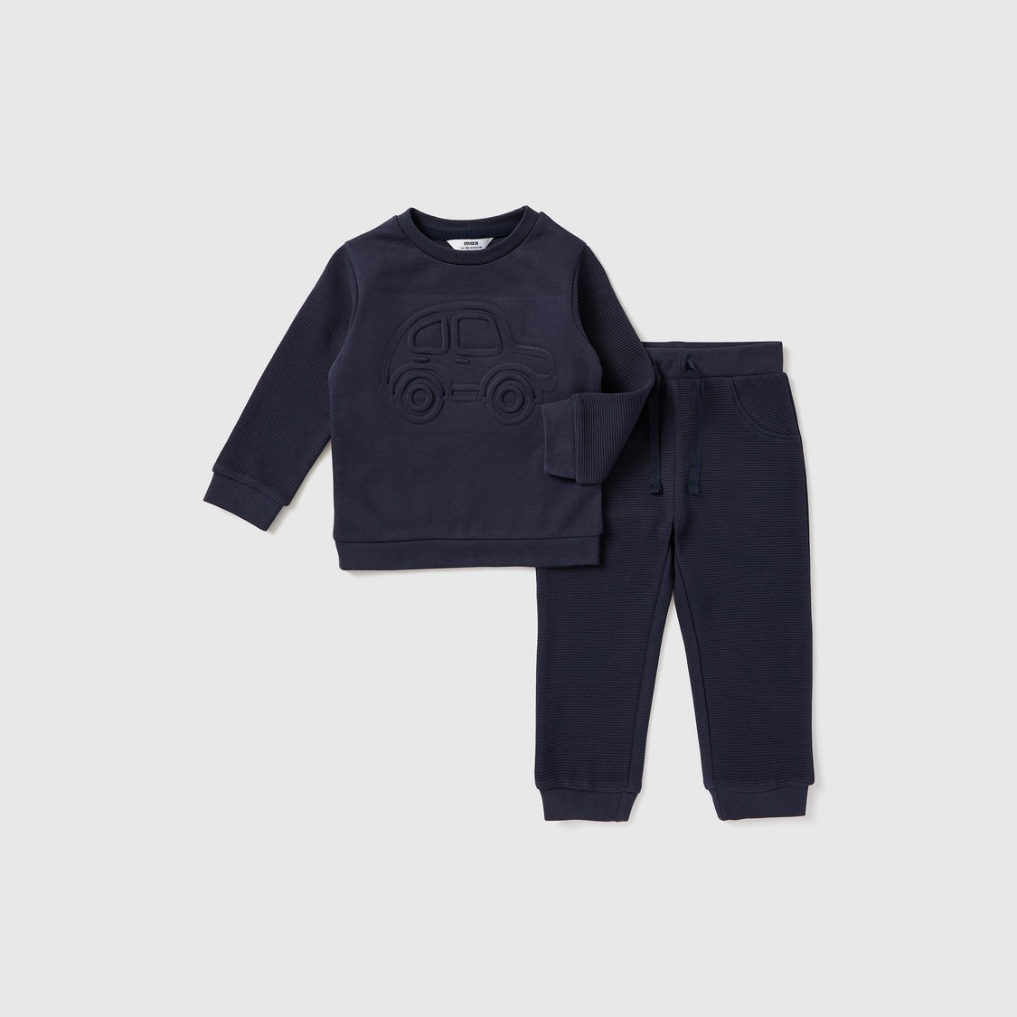 Quilted Round Neck Sweatshirt and Full Length Joggers Set
