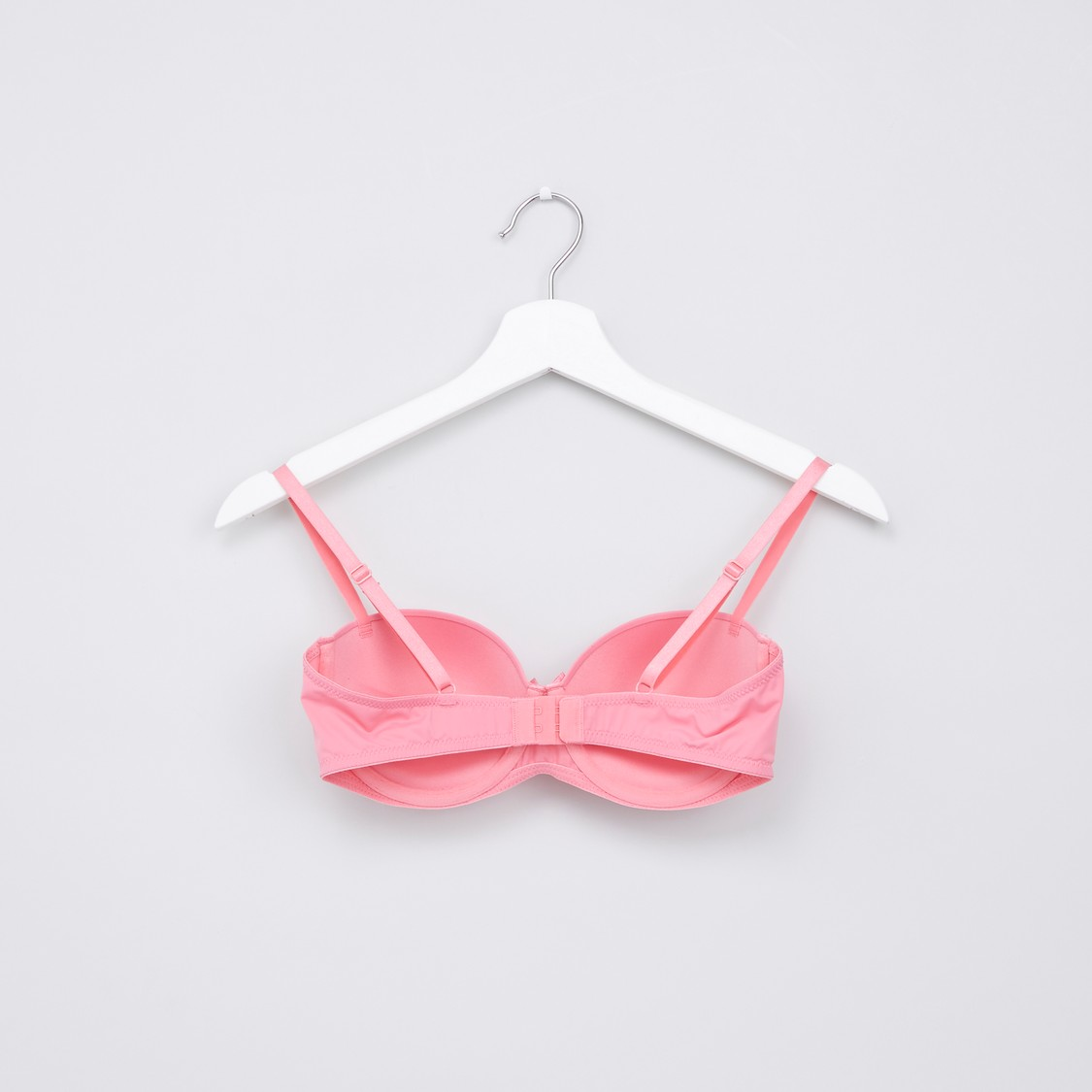 Set of 2 - Solid Push Up Balconette Bra with Hook and Eye Closure