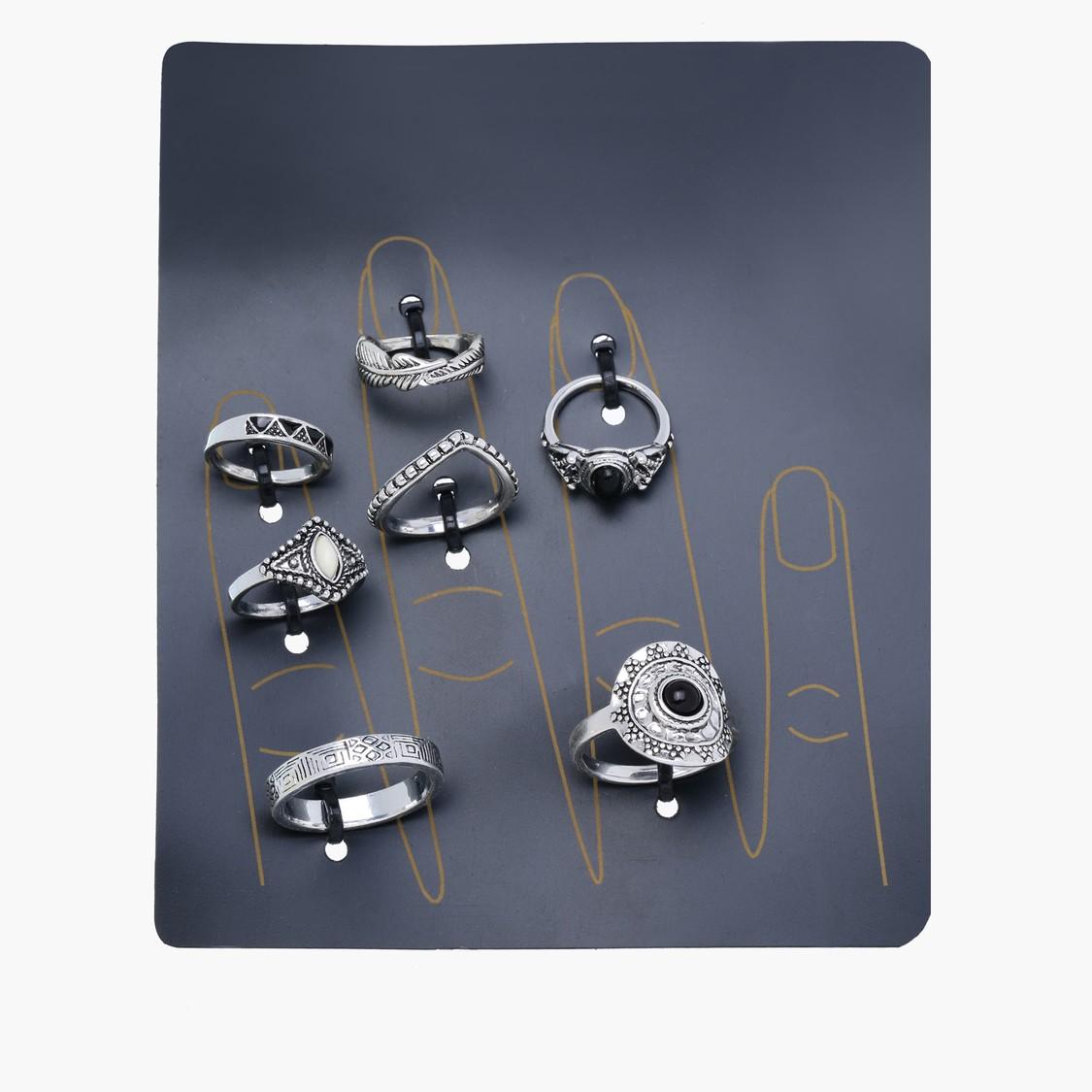 Embellished Ring - Set of 7
