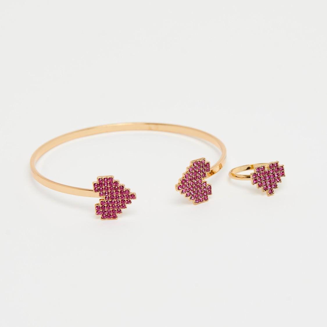 Embellished Open Cuff Bracelet and Finger Ring Set