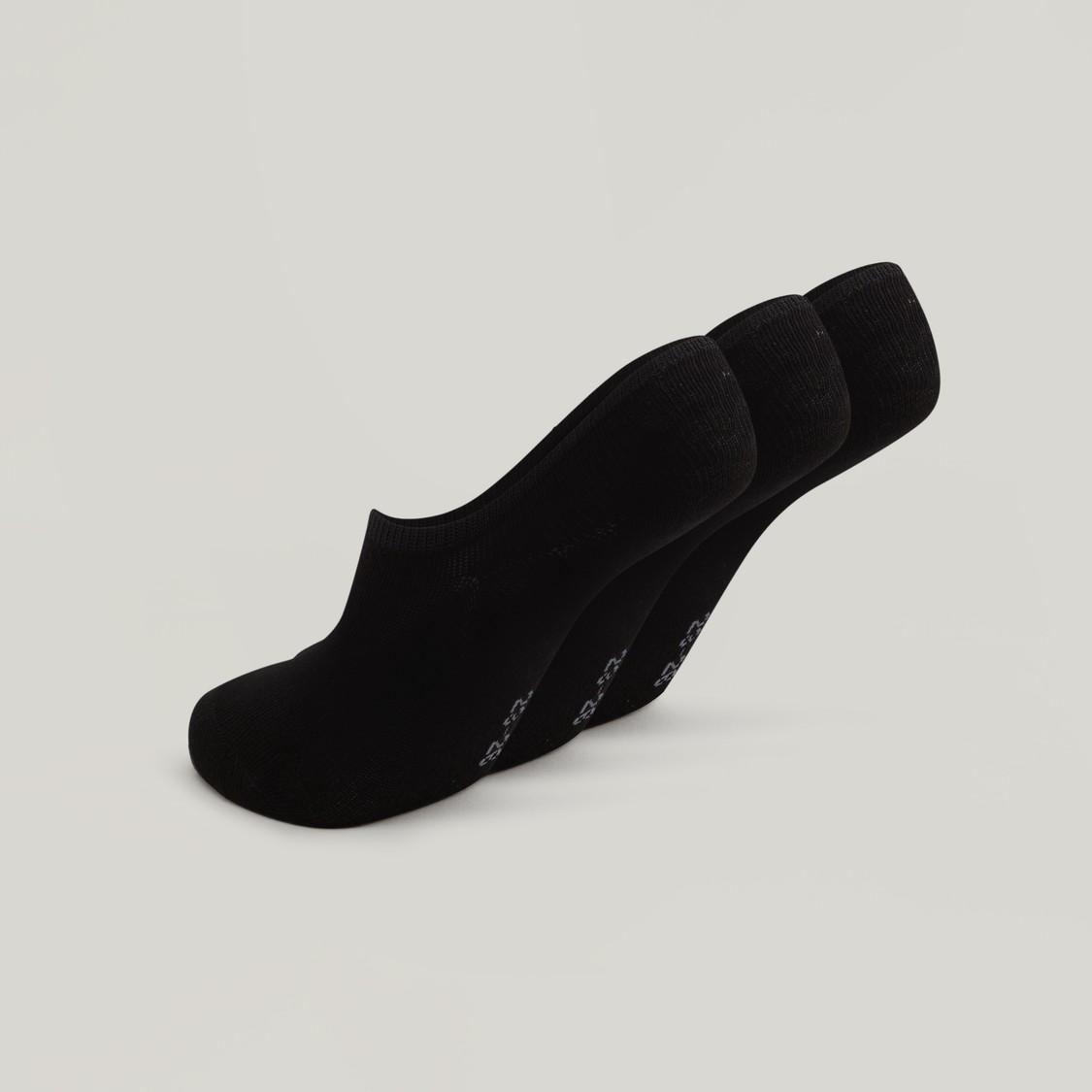 Textured No Show Socks with Elasticised Hem - Set of 3