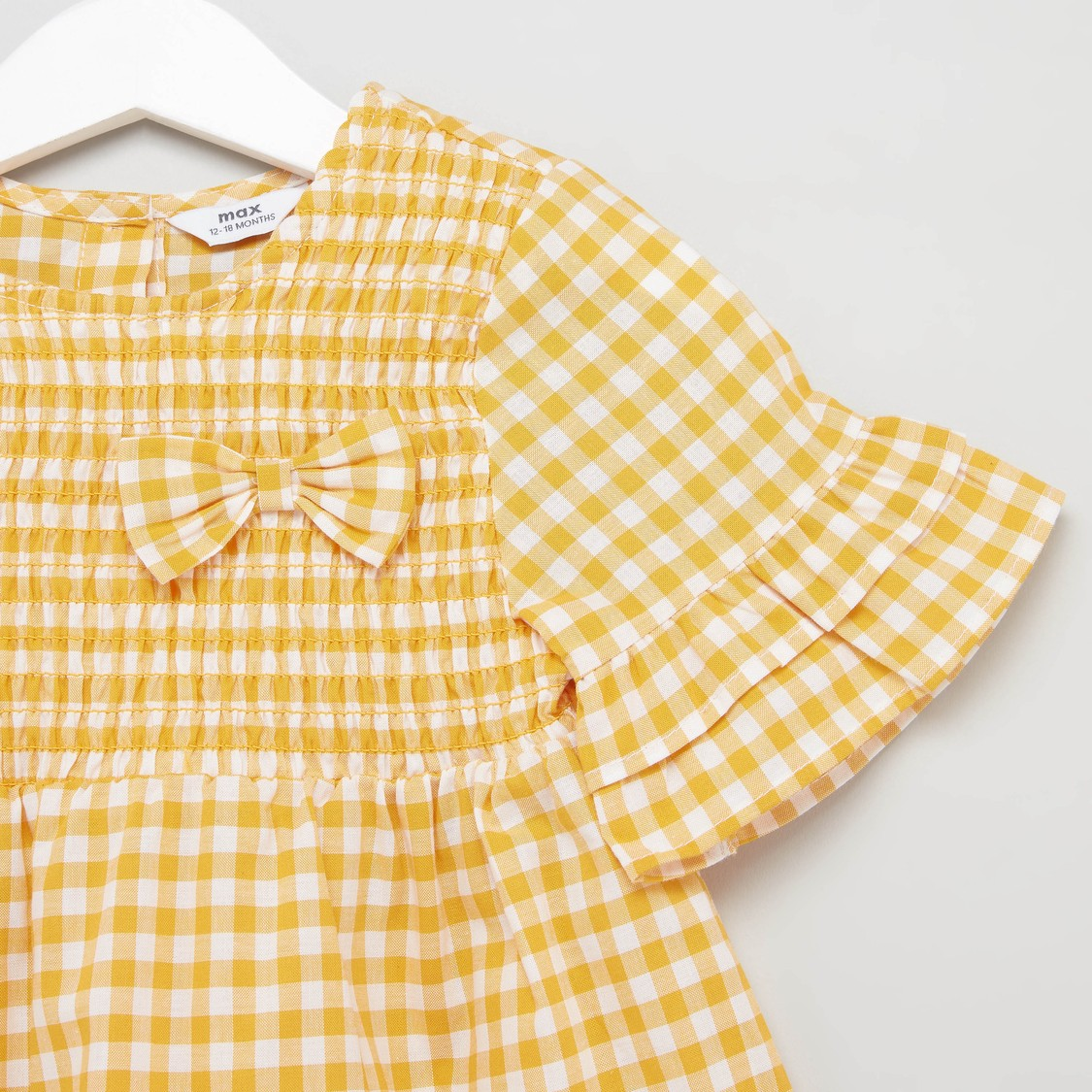 Chequered Gingham Top with Short Sleeves and Bow Applique