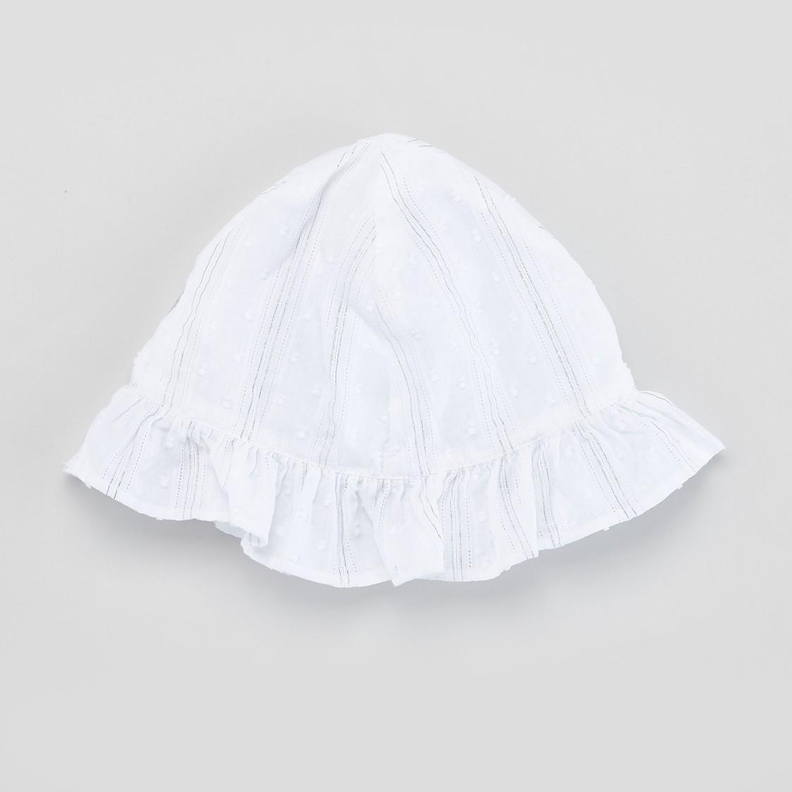 Textured Round Neck Romper with Cap