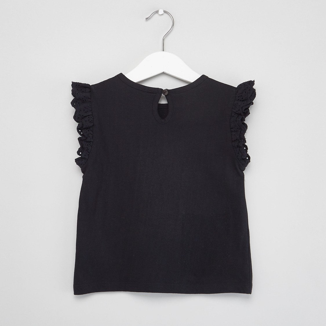 Printed T-shirt with Round Neck and Frill Sleeves