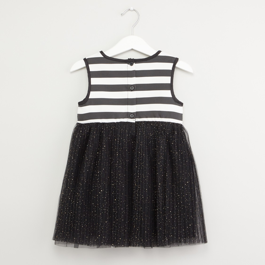 Striped Sleeveless Dress with Round Neck