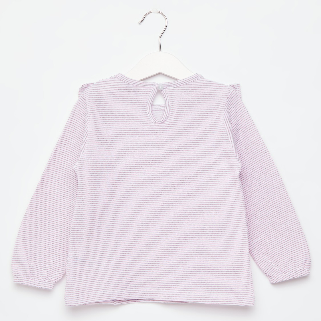 Striped T-shirt with Long Sleeves and Frill Detail