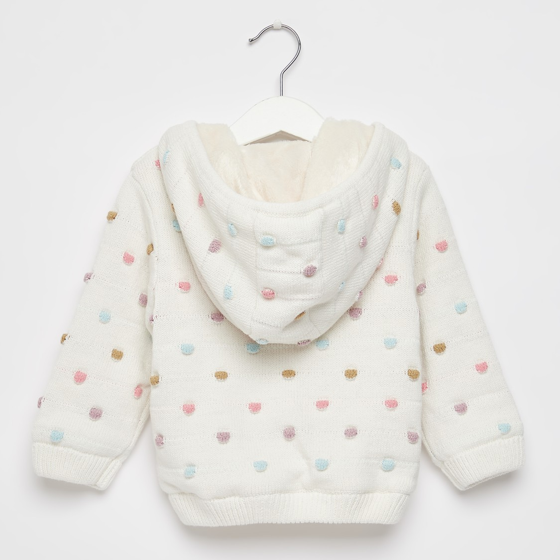 Pom-Pom Detailed Sweater Jacket with Long Sleeves and Hood