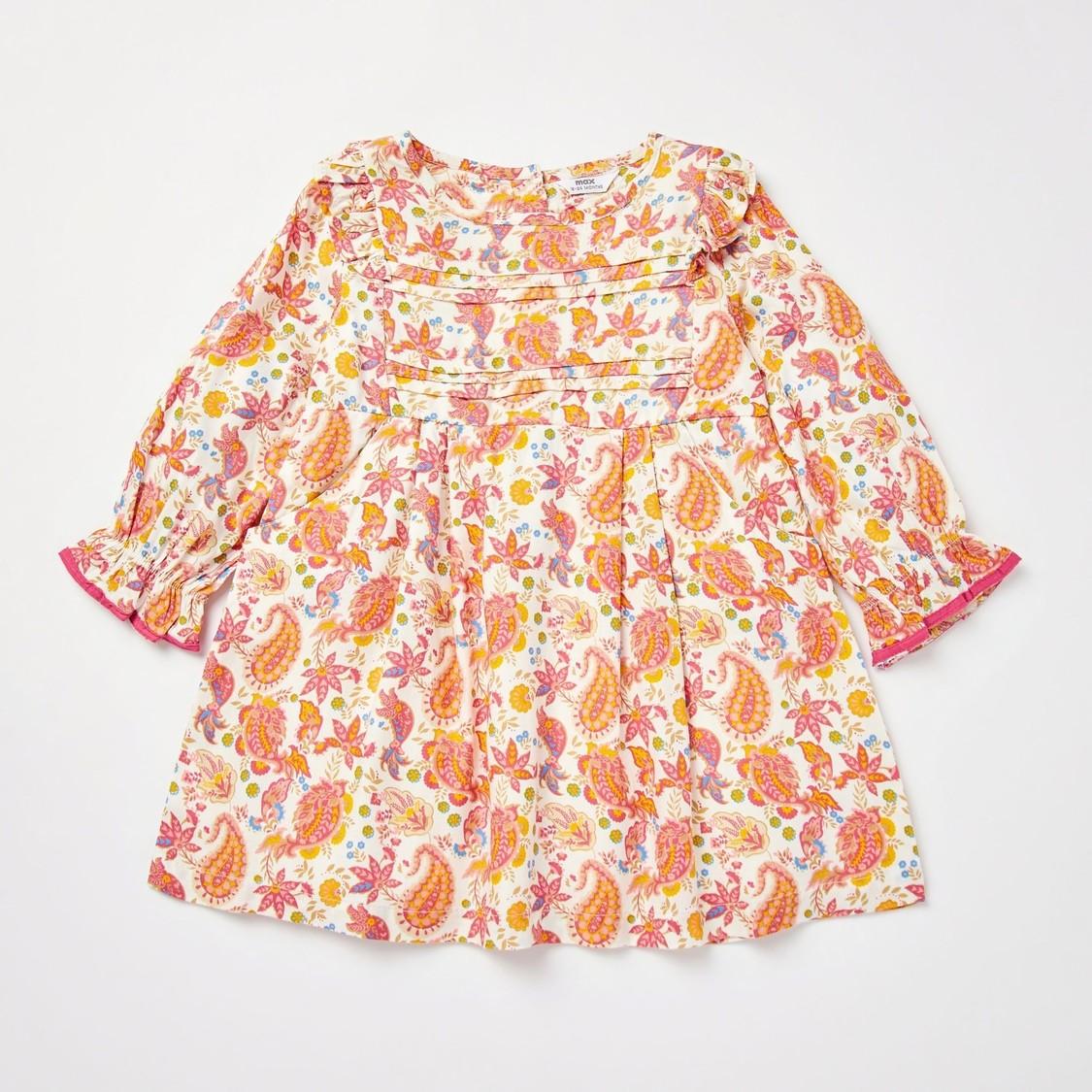 Paisley Print Long Sleeves Dress with Plush Gilet Jacket