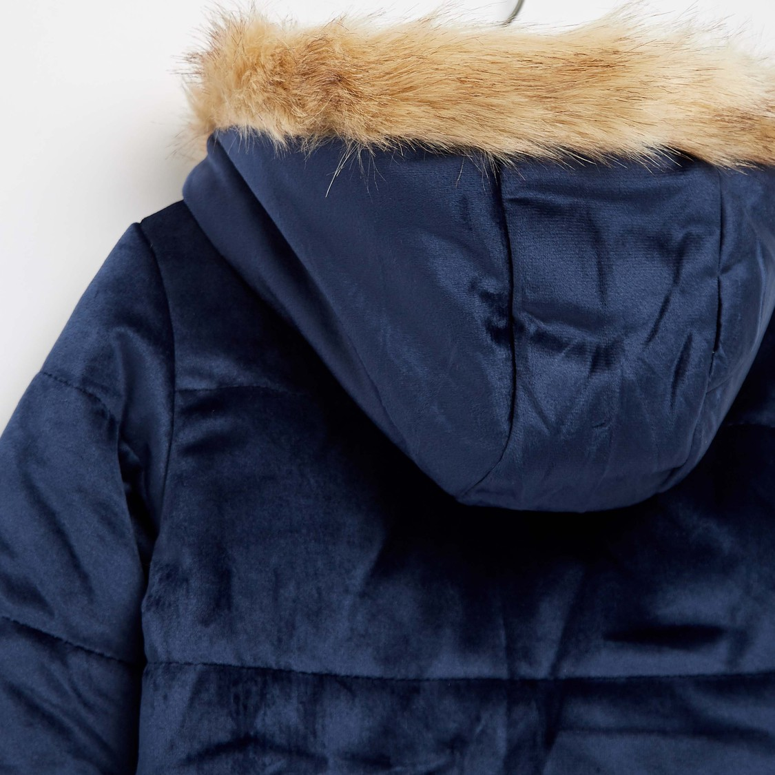 Velour Jacket with Hooded Neck and Zip Closure