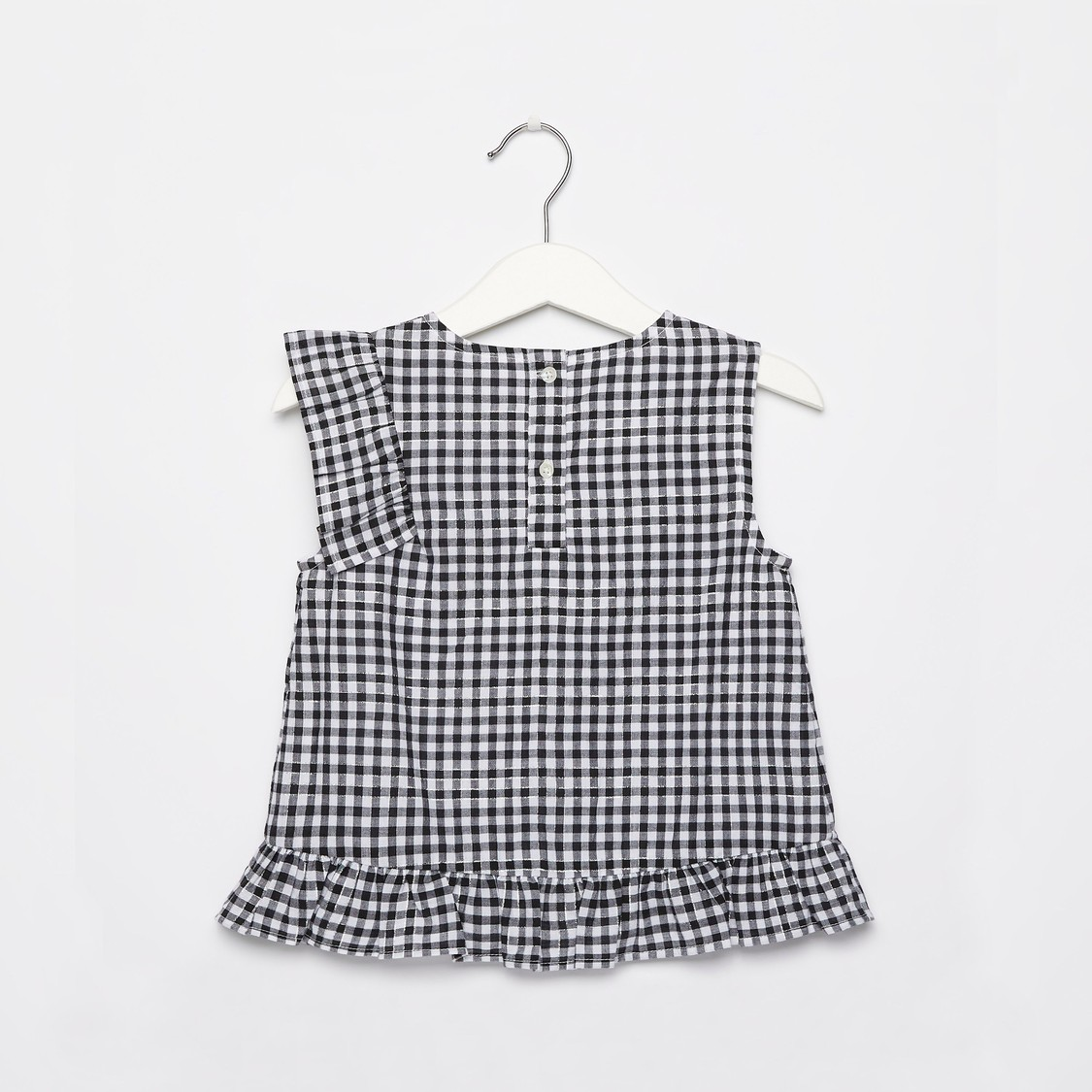 Gingham Checked Top with Round Neck and Button Closure