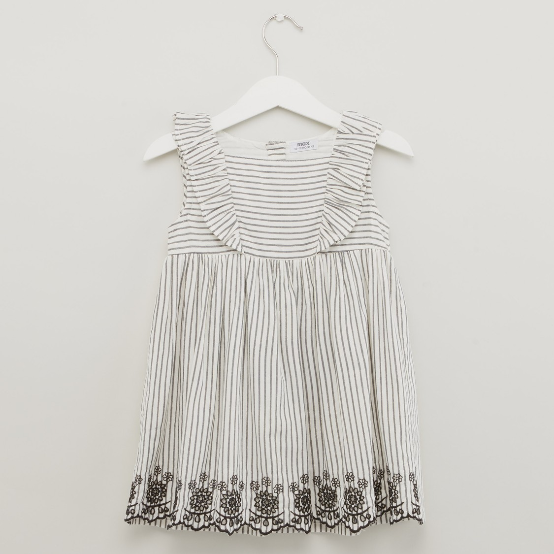 Striped Sleeveless Dress with Round Neck and Frill Detail