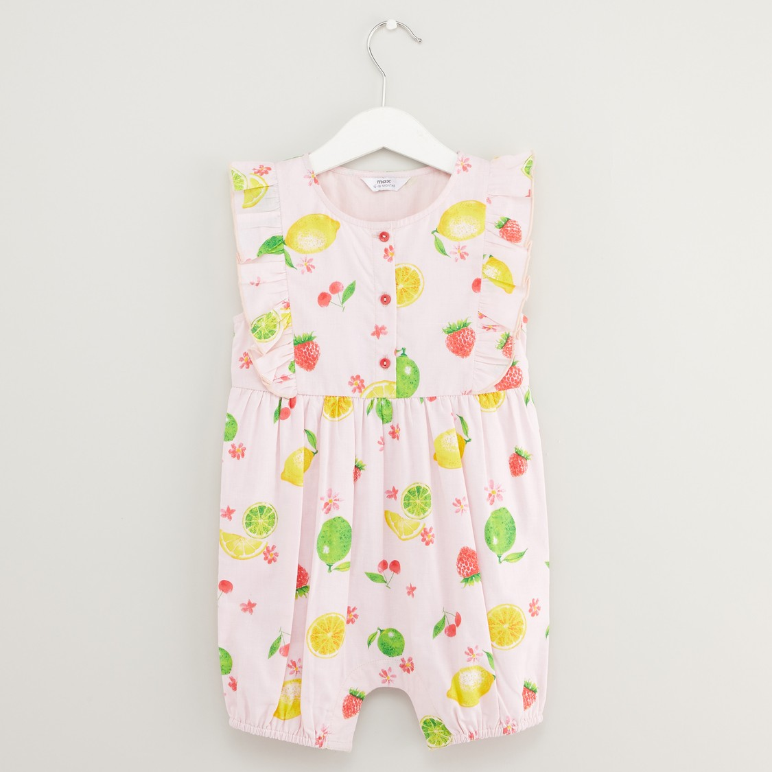 All Over Fruit Print Romper with Head Band