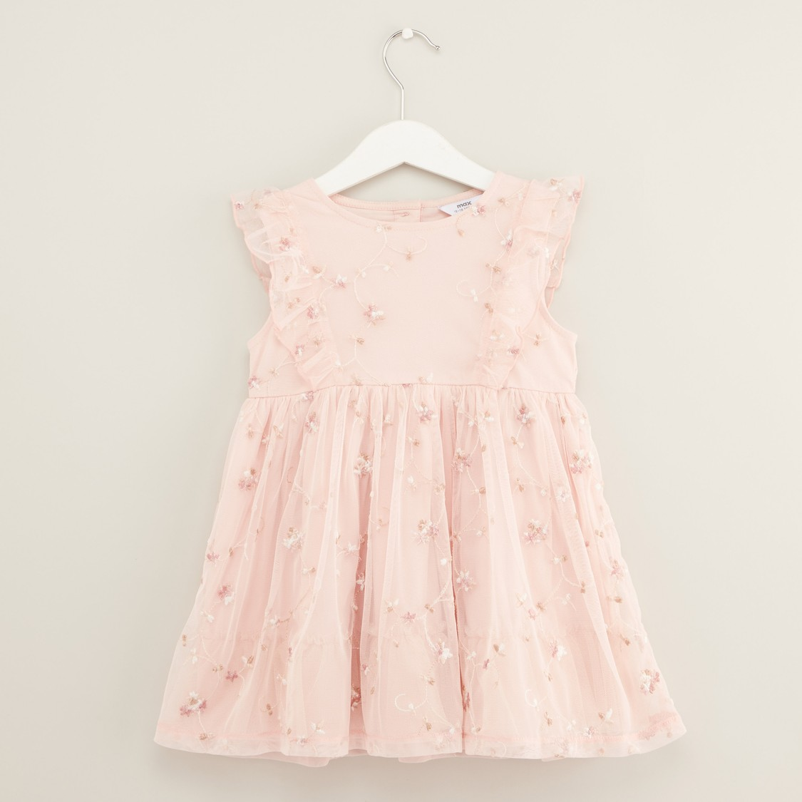 Embroidered Dress with Ruffle Detail