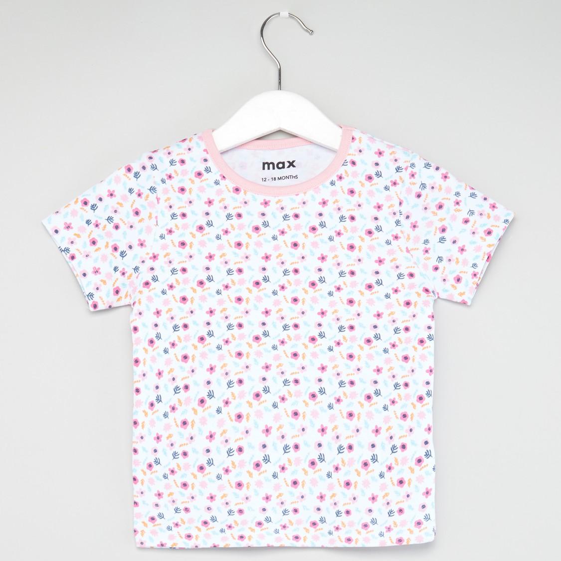 Ditsy Floral Print T-shirt and Pyjama Set