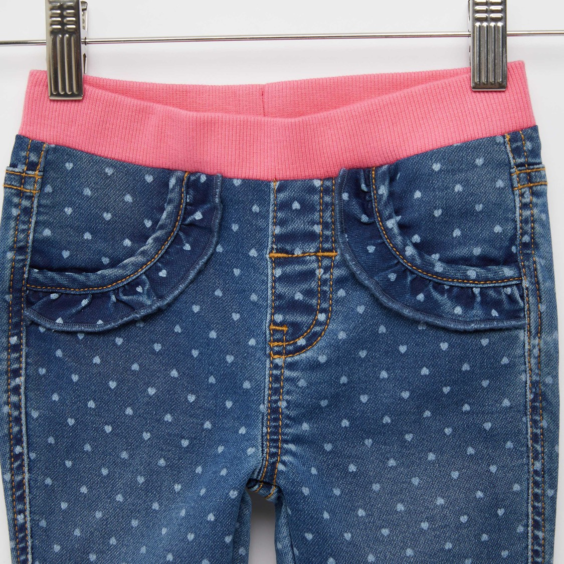 Heart Print Jeggings with Pockets and Elasticised Waistband