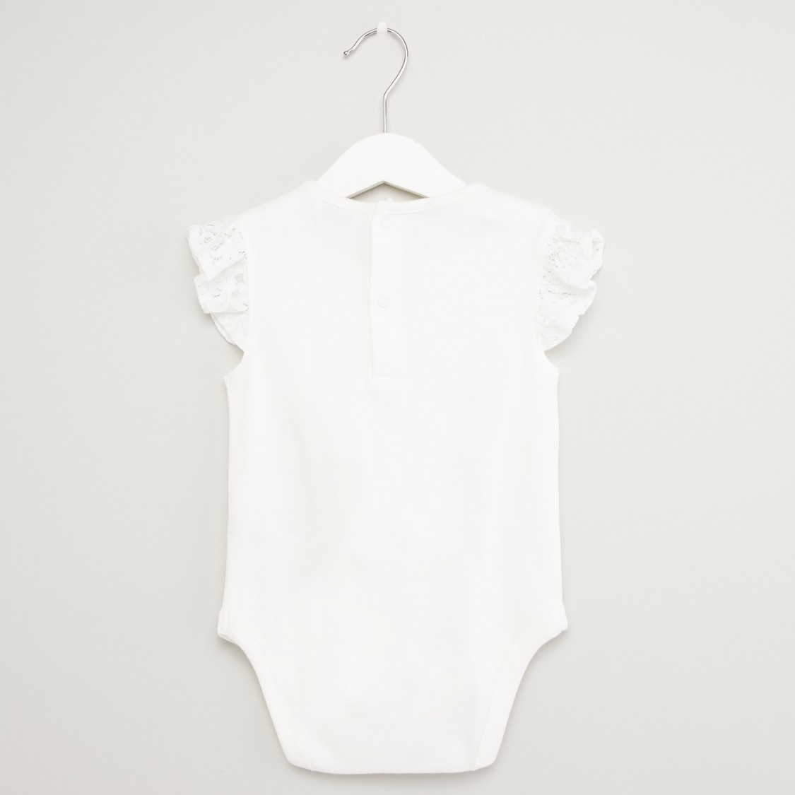 Set of 2 - Lace Detail Bodysuit with Short Sleeves
