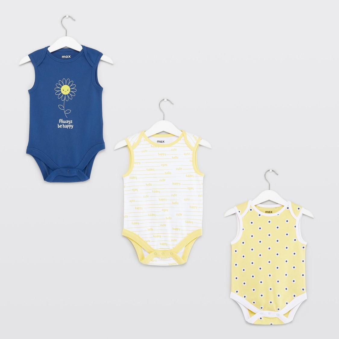 Set of 3 - Sleeveless Bodysuit with Prints