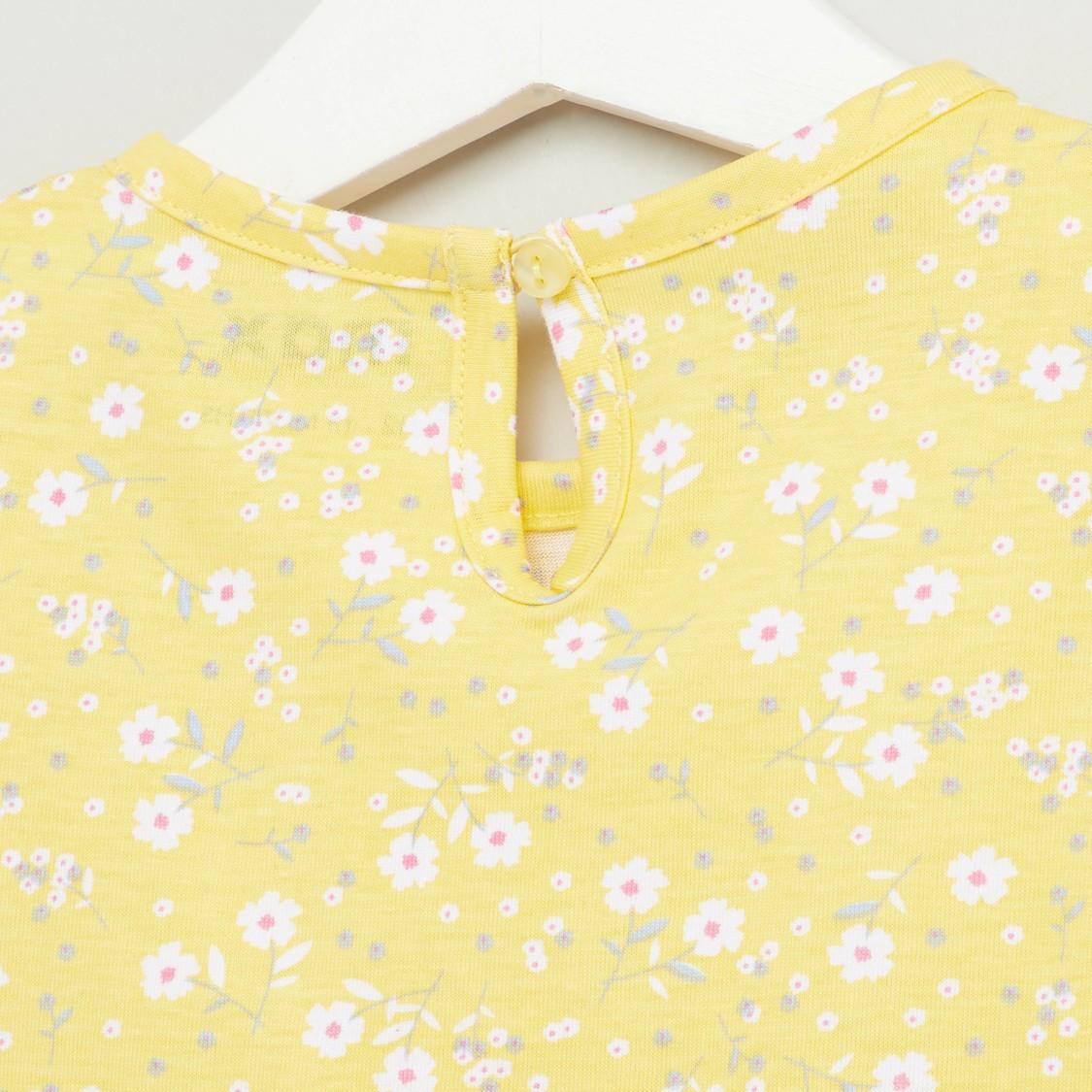 Floral Print Round Neck Sleeveless T-shirt