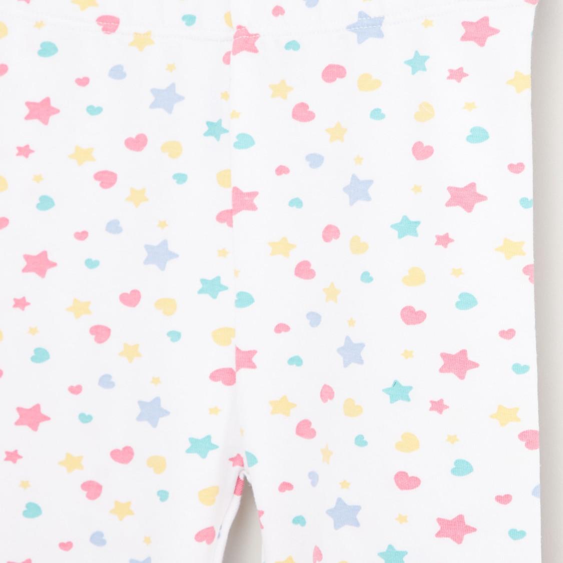 Star Print Leggings with Elasticised Waistband