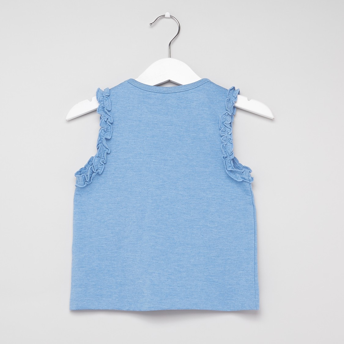 Printed Sleeveless Vest Top with Round Neck and Frill Detail