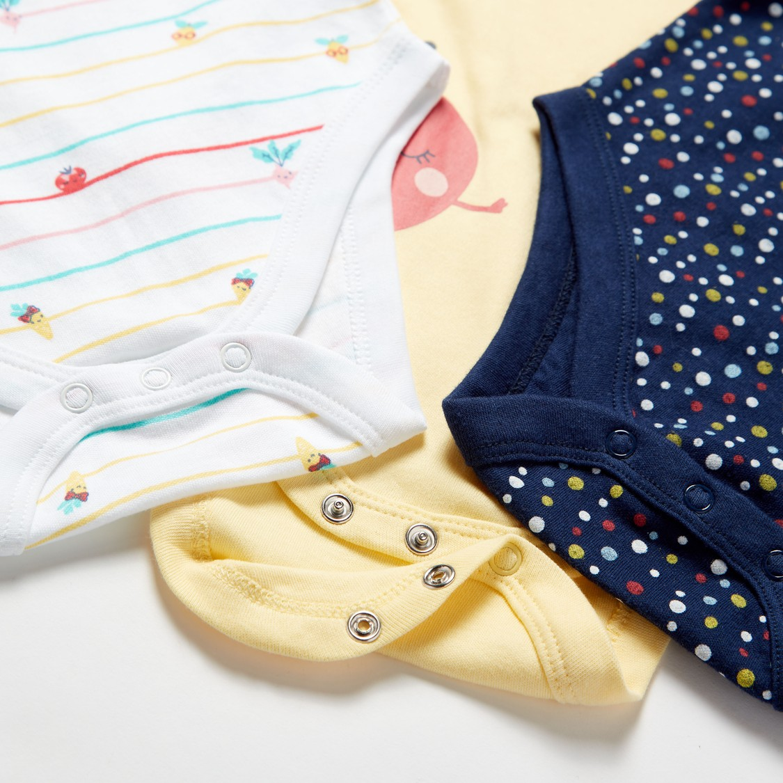 Pack of 3 - Printed Bodysuit with Short Sleeves and Button Closure