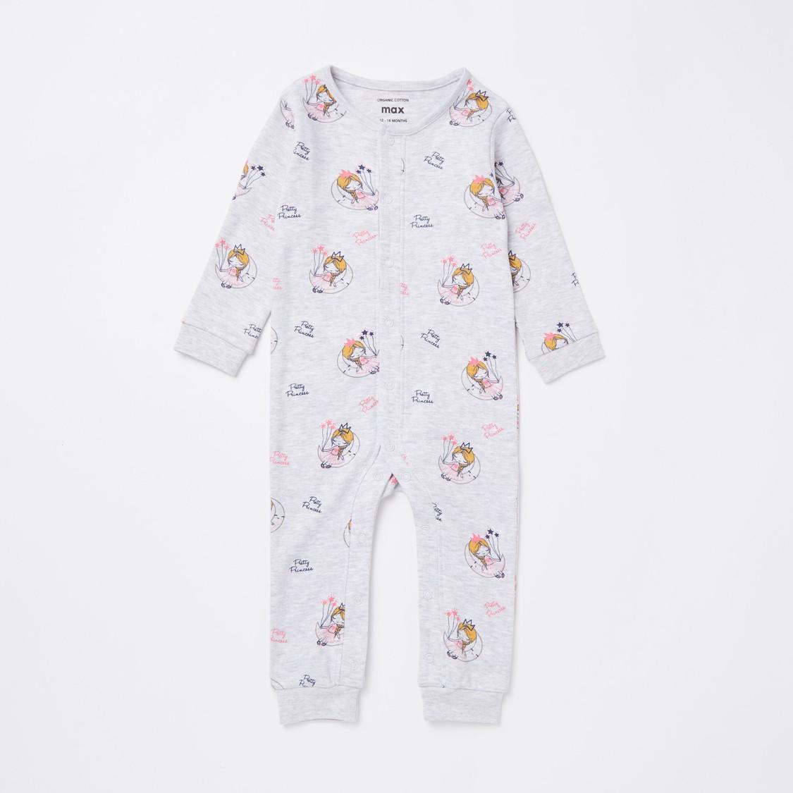 Printed Round Neck Sleepsuit and Beanie Cap Set