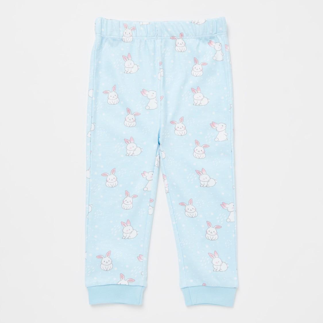 Printed GOTS Organic Cotton Round Neck T-shirt and Pyjama Set