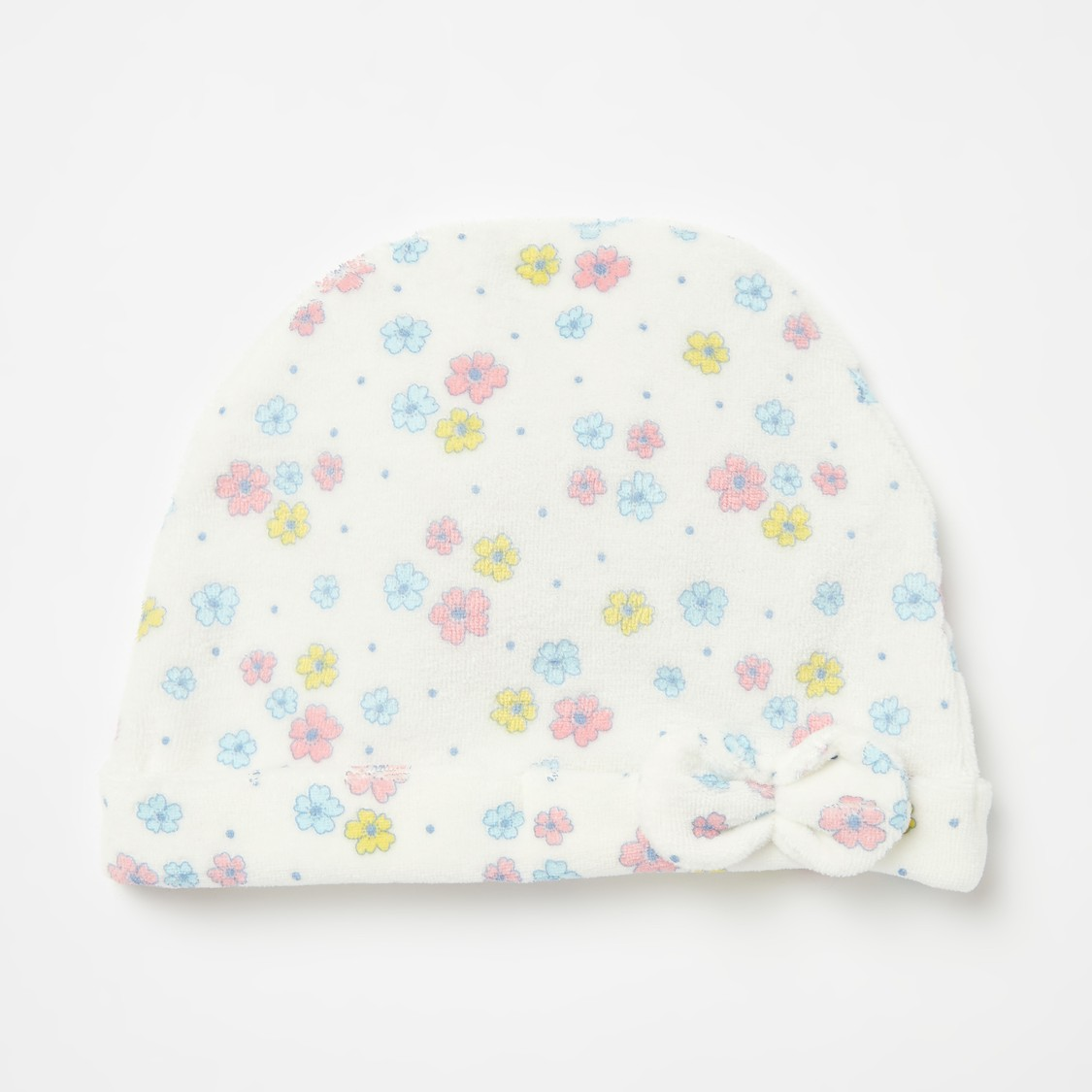 طقم نوم بقبعة و بأقدام مفتوحة وطبعات أزهار