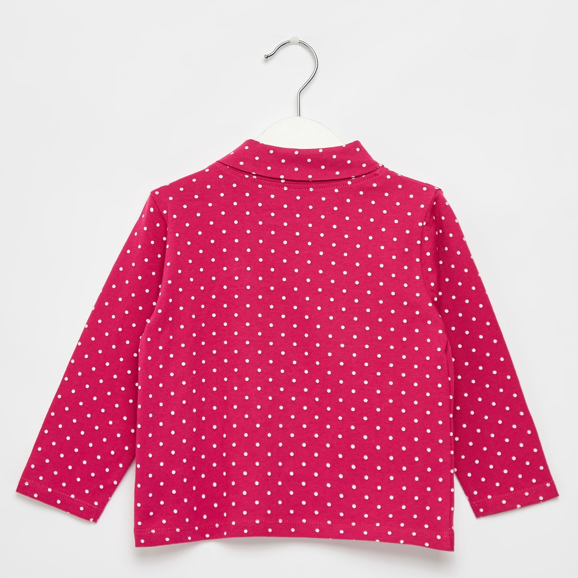 Dots Print High Neck T-shirt with Long Sleeves