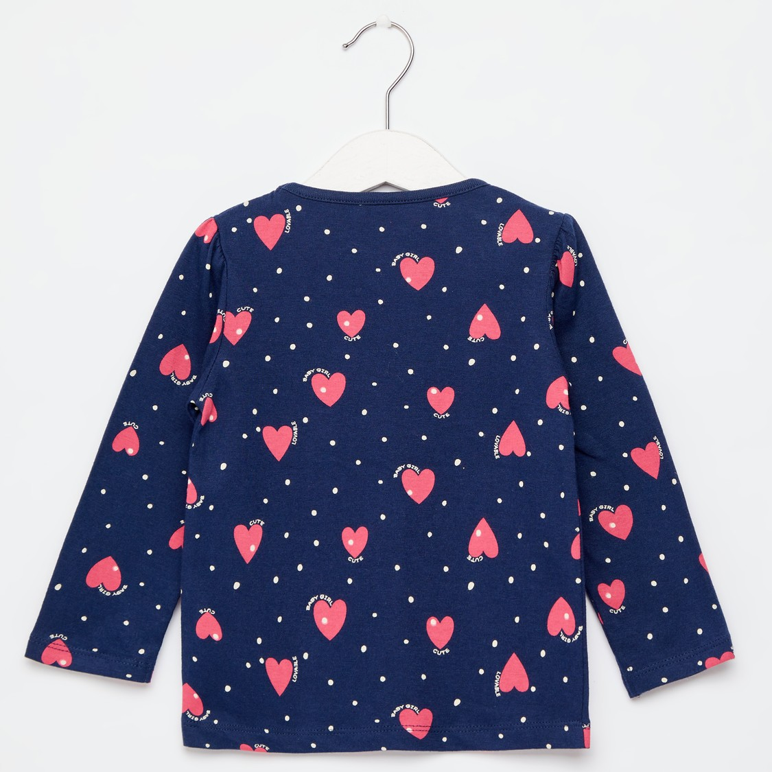 All-Over Hearts Print Top with Round Neck and Long Sleeves