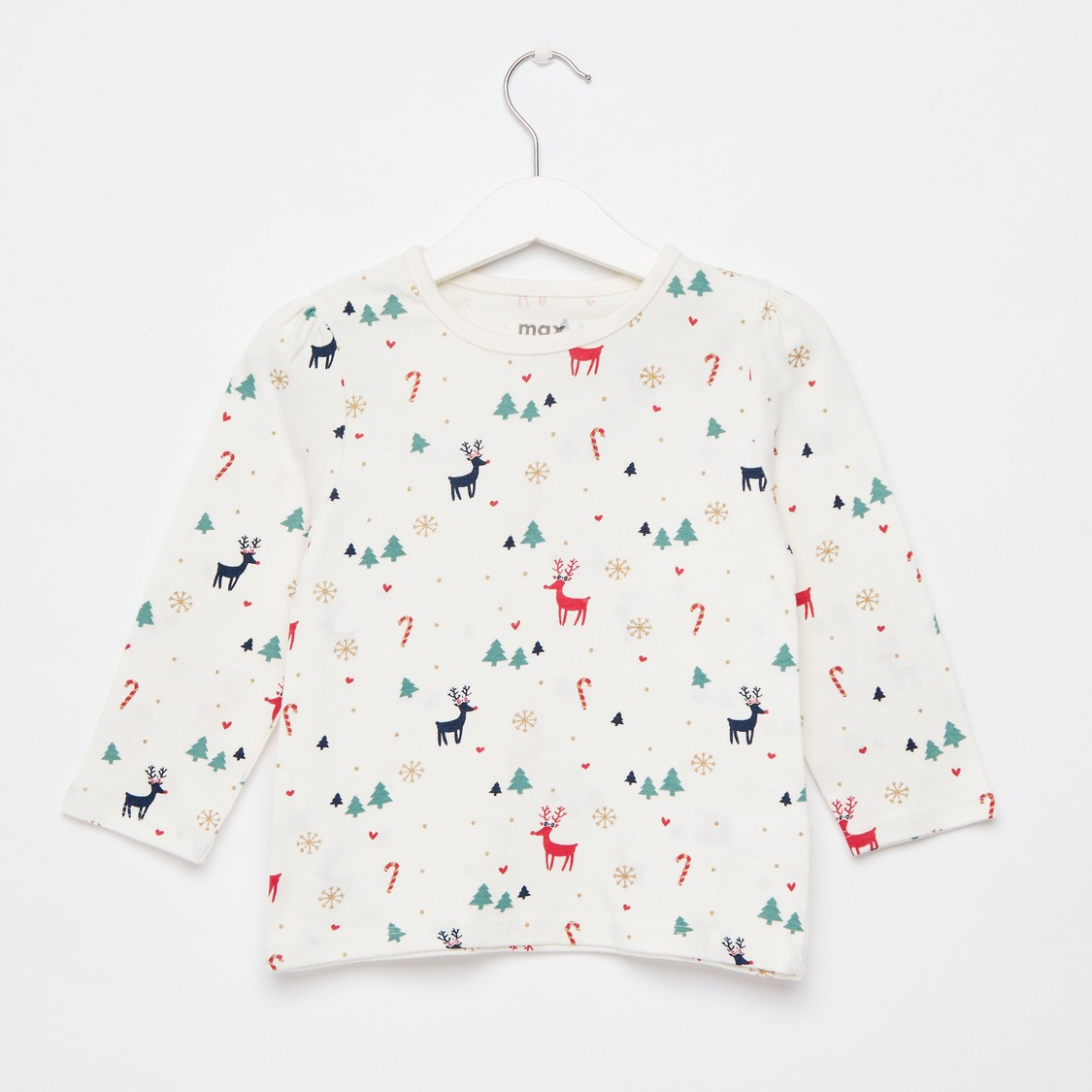 All-Over Print T-shirt with Round Neck and Long Sleeves