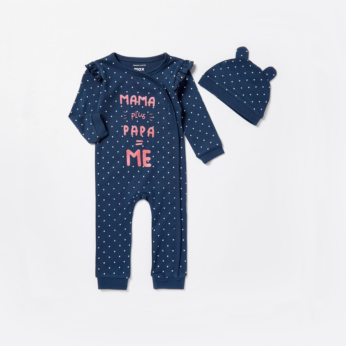 Text Print Long Sleeves Sleepsuit with Cap