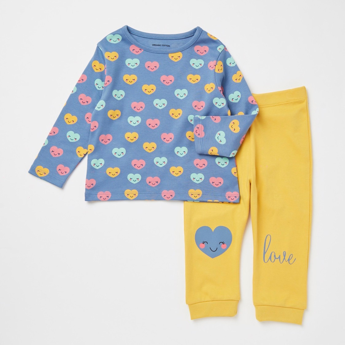 All-Over Heart Face Print Long Sleeves T-shirt and Pyjama Set
