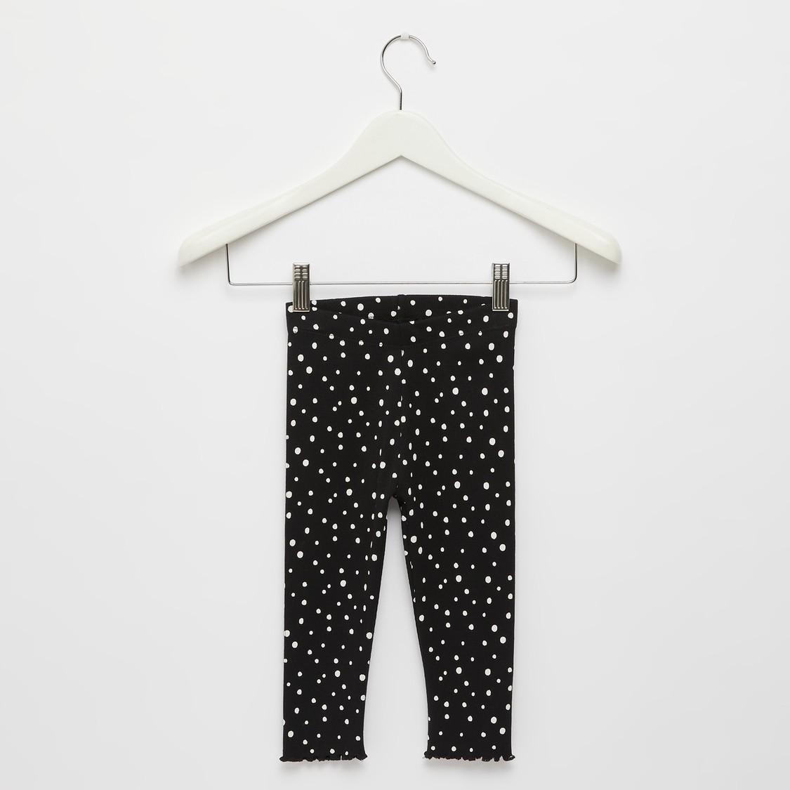 Polka Dots Print Ribbed Leggings with Elasticised Waistband