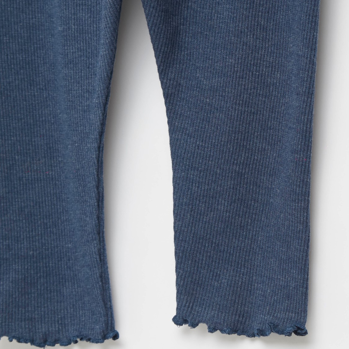 Ribbed Full Length Leggings with Frayed Hems and Elasticated Waistband