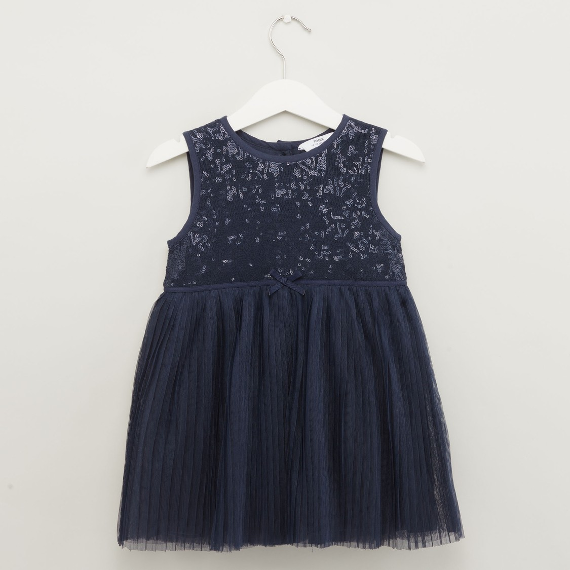 Sequin Detail Sleeveless Dress with Round Neck