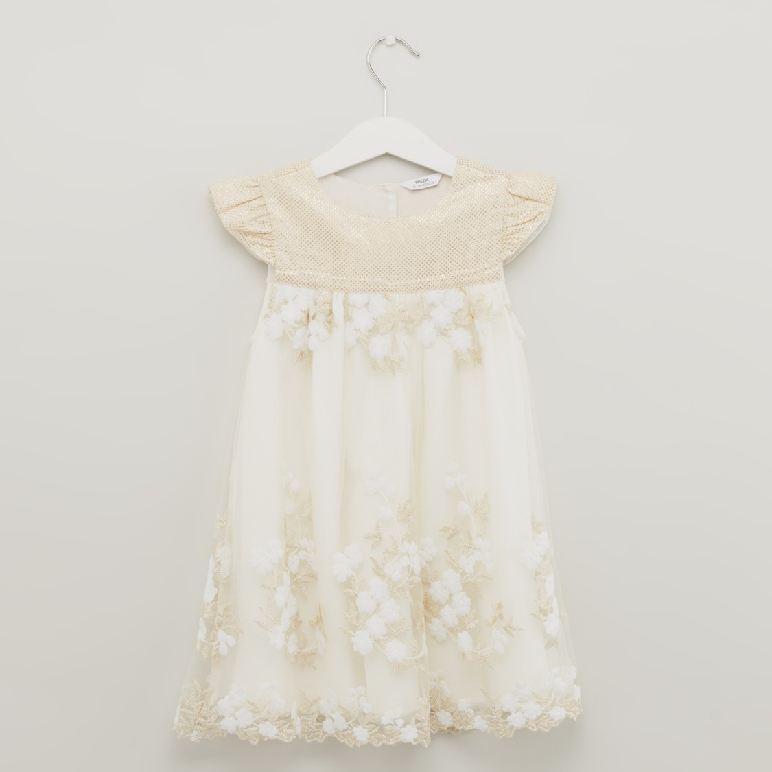 Floral Embroidered Dress with Puff Sleeves