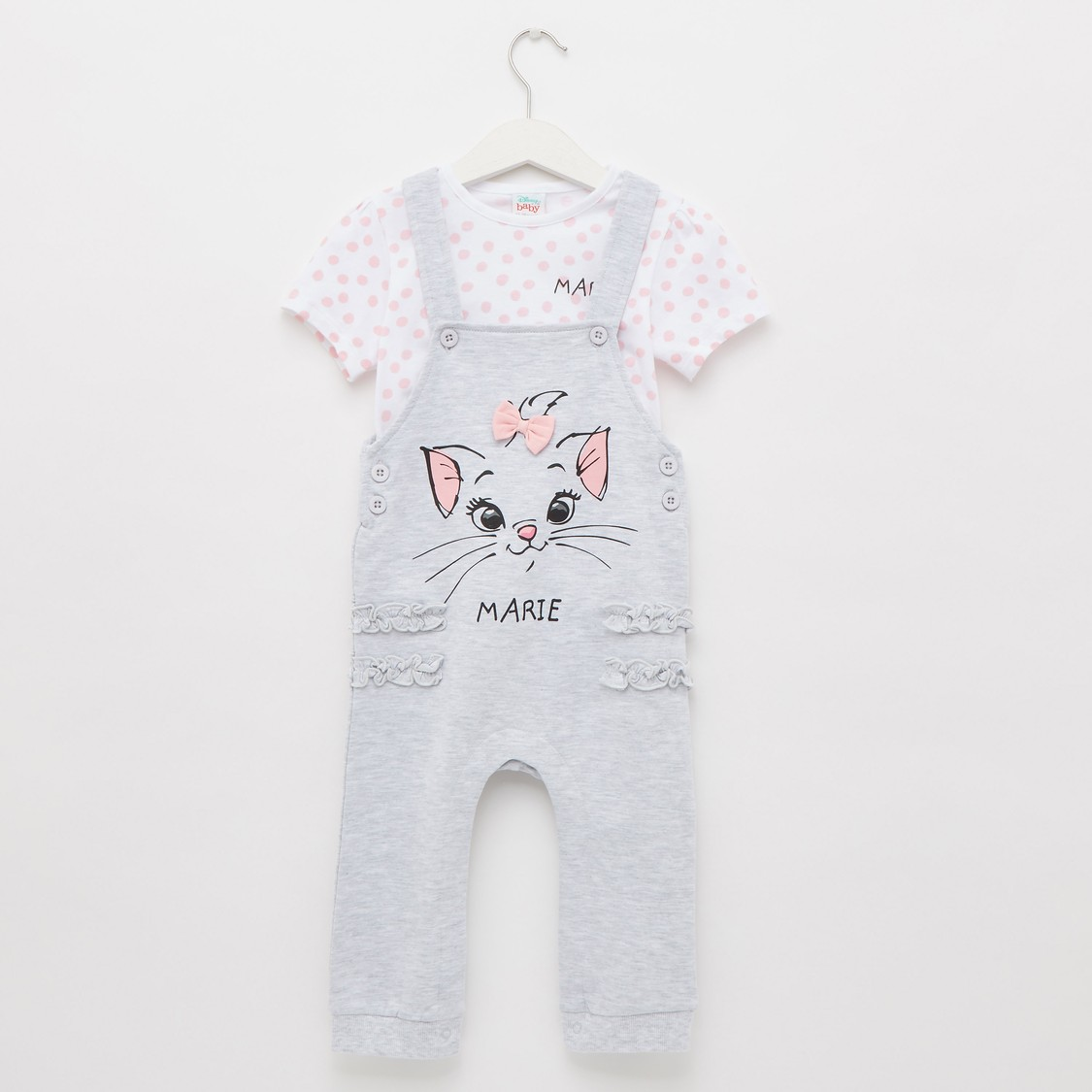 Marie Print Round Neck T-shirt with Dungarees