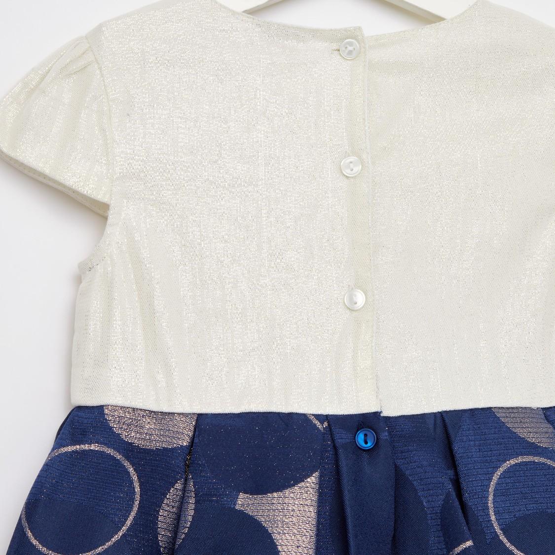 Embellished Jacquard Round Neck Dress with Cap Sleeves