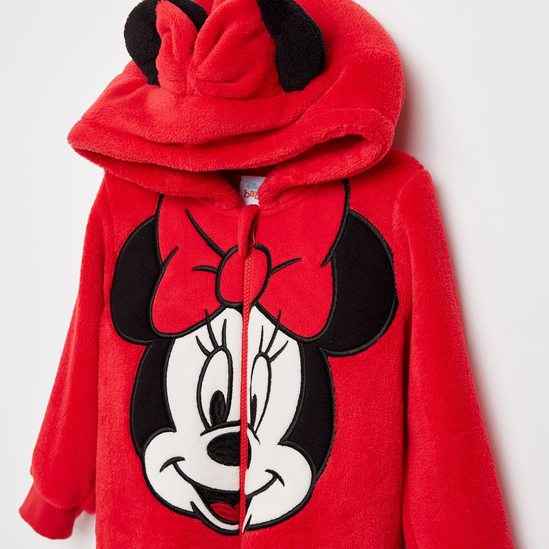 Minnie Mouse Print Hooded Romper with Zip Closure