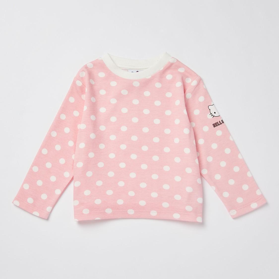Hello Kitty Print Full Length Dungarees and Long Sleeves T-shirt Set
