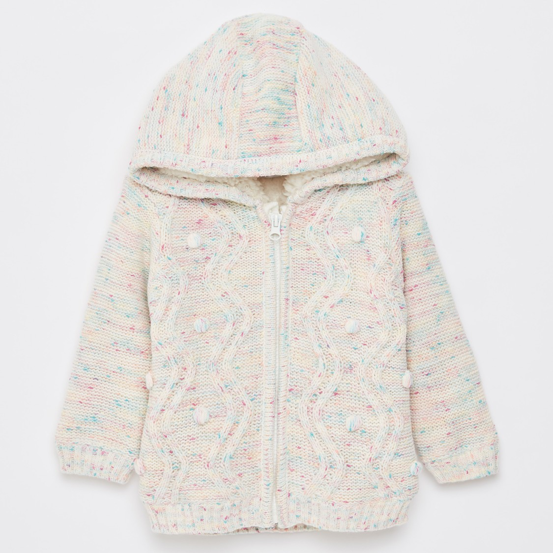 Textured Jacket with Hood and Long Sleeves