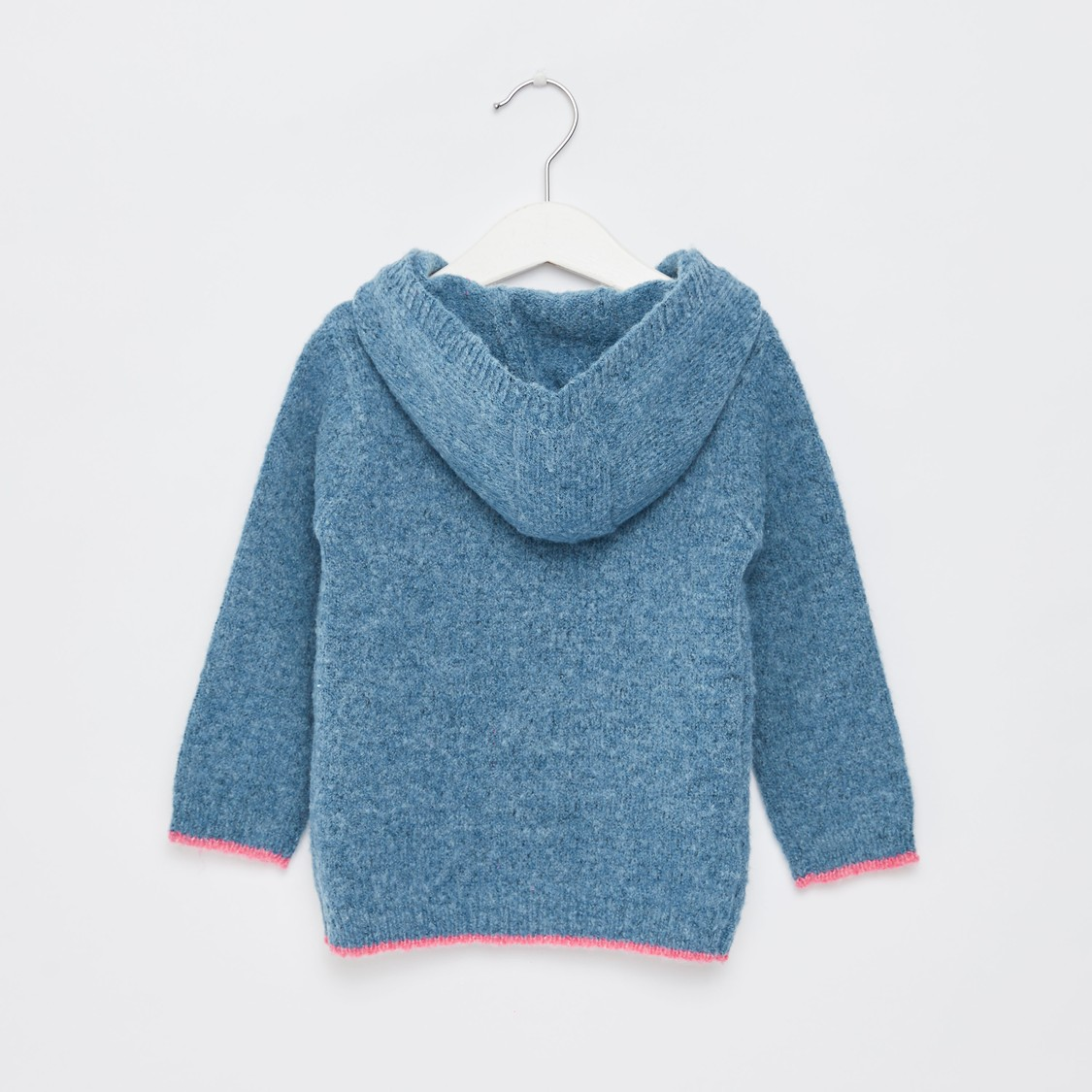 Textured Sweater with Hooded Neck and Long Sleeves