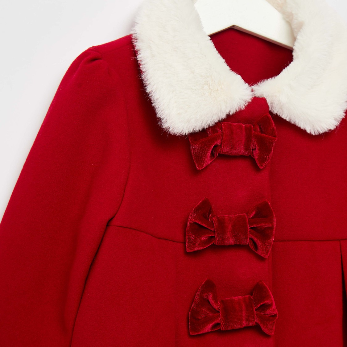 Textured Princess Coat with Collared Neck and Zip Closure