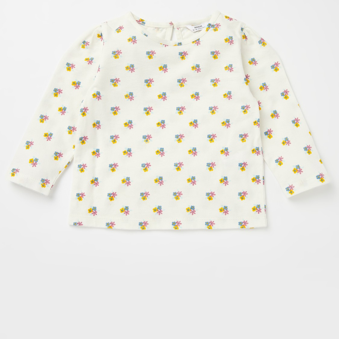 All-Over Print Round Neck T-shirt with Dungarees